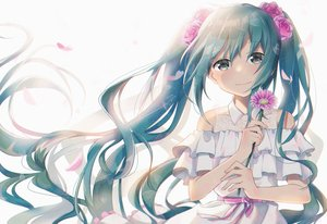Rating: Safe Score: 47 Tags: blue_eyes blue_hair bow dress flowers hatsune_miku long_hair petals tasi_y twintails vocaloid User: RyuZU