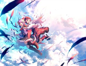Rating: Safe Score: 95 Tags: 2girls animal_ears brown_eyes clouds dress eho_(icbm) feathers hat mystia_lorelei pink_hair purple_hair short_hair skirt sky tokiko touhou wings User: Maboroshi