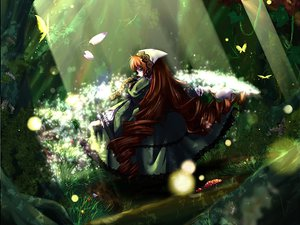 Rating: Safe Score: 14 Tags: butterfly flowers forest rozen_maiden suiseiseki tree User: Oyashiro-sama