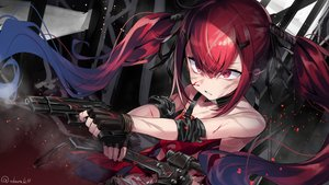 Rating: Safe Score: 62 Tags: abarabone anthropomorphism blood cz-75_(girls_frontline) girls_frontline gloves gun long_hair red_eyes red_hair signed torn_clothes twintails weapon User: otaku_emmy