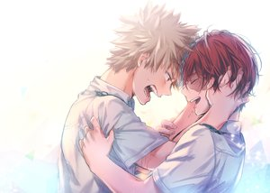 Rating: Safe Score: 13 Tags: all_male bakugou_katsuki blonde_hair boku_no_hero_academia hug male red_eyes red_hair short_hair shounen_ai sketch tagme_(artist) todoroki_shouto User: mattiasc02