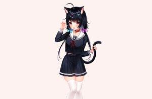 Rating: Safe Score: 62 Tags: animal_ears bell black_hair blush brown catgirl collar fang long_hair original red_eyes school_uniform shouu-kun skirt tail thighhighs twintails zettai_ryouiki User: otaku_emmy
