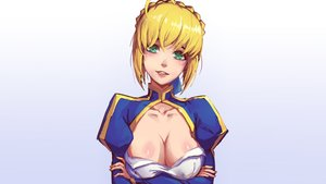 Rating: Safe Score: 96 Tags: artoria_pendragon_(all) blonde_hair braids breast_hold breasts cleavage fate_(series) fate/stay_night gradient green_eyes mool_yueguang saber User: Hakha
