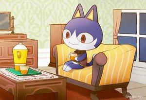 Rating: Safe Score: 16 Tags: animal ayu_(mog) cat couch doubutsu_no_mori drink mishiranu_neko red_eyes signed User: otaku_emmy
