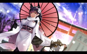 Rating: Safe Score: 88 Tags: animal animal_ears anthropomorphism atago_(azur_lane) azur_lane black_hair breasts dog foxgirl gloves japanese_clothes kagiyama_(gen'ei_no_hasha) kimono long_hair orange_eyes umbrella User: luckyluna