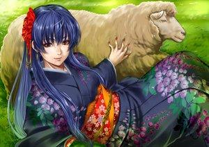Rating: Safe Score: 31 Tags: animal blue_hair brown_eyes flowers grass japanese_clothes kimono long_hair original pandaraion_(kanikani2950) sheep User: Flandre93
