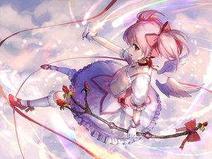 Rating: Safe Score: 67 Tags: choker clouds dress flowers gloves kaname_madoka mahou_shoujo_madoka_magica pink_hair red_eyes short_hair sishenfan socks twintails wings User: luckyluna