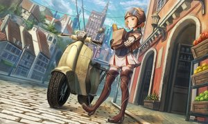 Rating: Safe Score: 72 Tags: blonde_hair boots building city clouds food gloves hat motorcycle original short_hair sky thighhighs watermark yellow_eyes yu_ni_t User: BattlequeenYume