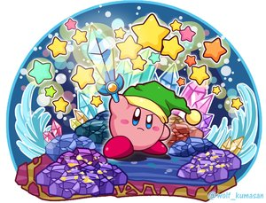 Rating: Safe Score: 22 Tags: hat kirby kirby_(character) ninjya_palette stars sword waifu2x watermark weapon User: otaku_emmy