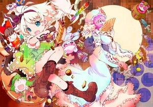 Rating: Safe Score: 58 Tags: animal_ears blue_eyes boots bow candy chibi dress green_hair hakurei_reimu hong_meiling ichizen_(o_tori) kasodani_kyouko katana kirisame_marisa konpaku_youmu miyako_yoshika myon pink_hair saigyouji_yuyuko sword tail touhou weapon User: opai