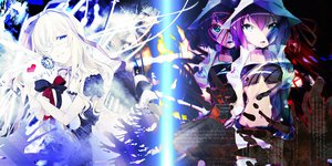 Rating: Safe Score: 74 Tags: 2girls blue_eyes eyepatch long_hair merry_nightmare navel purple_hair ribbons short_hair tagme_(character) white_hair yumekui_merry User: god_angel