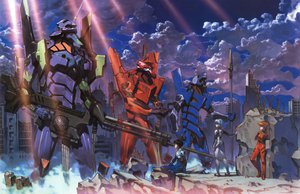 Rating: Safe Score: 46 Tags: ayanami_rei bodysuit gainax gun ikari_shinji mecha neon_genesis_evangelion robot skintight soryu_asuka_langley weapon User: Oyashiro-sama