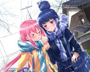 Rating: Safe Score: 35 Tags: 2girls blue_hair blush cropped food kagamihara_nadeshiko long_hair pink_hair purple_eyes scarf shima_rin swordsouls yuru_camp User: RyuZU