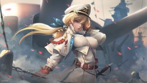 Rating: Safe Score: 74 Tags: blonde_hair blue_eyes garter_belt g-tz hat original ponytail realistic signed sword uniform weapon User: BattlequeenYume