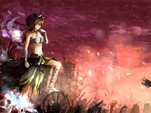 Rating: Safe Score: 170 Tags: animal_ears bandage bell brown_hair catgirl clouds kaenbyou_rin multiple_tails pointed_ears red_eyes ribbons sarashi sishenfan skull sky tail torn_clothes touhou underwear User: STORM