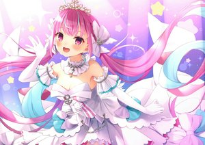 Rating: Safe Score: 49 Tags: breasts cleavage dress elbow_gloves gloves headdress hololive long_hair minato_aqua pink_eyes pink_hair tiara tokoshibyra twintails User: RyuZU