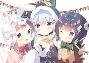 Rating: Safe Score: 67 Tags: animal_ears bell black_hair blue_hair blush bow brown_hair cosplay elbow_gloves gloves gochuumon_wa_usagi_desu_ka? halloween hoodie jouga_maya kafuu_chino loli long_hair natsu_megumi purple_eyes short_hair twintails waifu2x wings wink yellow_eyes yuizaki_kazuya User: BattlequeenYume