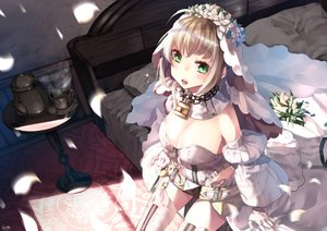 Rating: Safe Score: 70 Tags: bed blonde_hair blush breasts brown_hair chain cleavage drink fate/grand_order fate_(series) flowers garter_belt nero_claudius_(bride) petals saraki short_hair signed User: luckyluna
