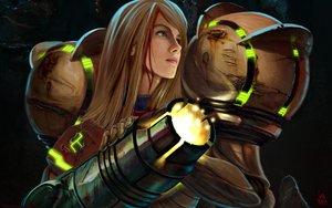 Rating: Safe Score: 50 Tags: armor blonde_hair blood blue_eyes gun ivan_flores long_hair metroid samus_aran weapon User: haru3173