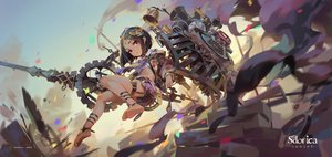 Rating: Safe Score: 86 Tags: armor barefoot bell black_hair lamier lisa_(sdorica) logo loli red_eyes sdorica_-sunset- short_hair weapon User: BattlequeenYume