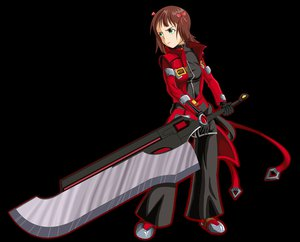Rating: Safe Score: 35 Tags: amami_haruka blazblue brown_hair cosplay drawfag gloves green_eyes idolmaster short_hair sword transparent weapon User: PAIIS