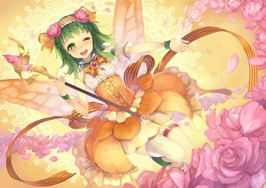 Rating: Safe Score: 93 Tags: btoor flowers garter green_eyes green_hair gumi petals staff thighhighs vocaloid wings wink User: FormX