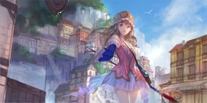 Rating: Safe Score: 81 Tags: atelier atelier_totori brown_eyes brown_hair building city clouds dress headdress long_hair signed sky staff stairs swd3e2 totooria_helmold User: luckyluna