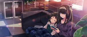 Rating: Safe Score: 30 Tags: 2girls black_hair blue_eyes couch headband idolmaster idolmaster_cinderella_girls loli long_hair necklace sagisawa_fumika sleeping tachibana_arisu yuuki_tatsuya User: RyuZU