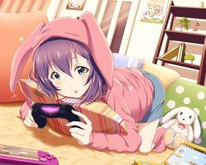 Rating: Safe Score: 78 Tags: animal_ears aqua_eyes book bunny game_console hoodie idolmaster idolmaster_million_live! mochizuki_anna purple_hair shiokazunoko shorts User: BattlequeenYume