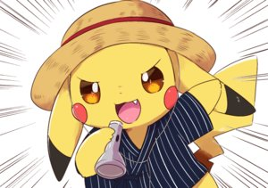 Rating: Safe Score: 9 Tags: aliasing cat_smile close fang hat japanese_clothes kemoribon orange_eyes pikachu pokemon User: otaku_emmy