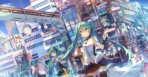 Rating: Safe Score: 64 Tags: 7th_dragon_2020 building city corpse dress green_eyes green_hair hachune_miku hatsune_miku headphones skirt thighhighs tie twintails vocaloid User: BattlequeenYume