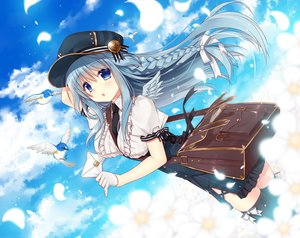 Rating: Safe Score: 34 Tags: animal bird blue_eyes blue_hair braids breasts clouds dress flowers gloves hat long_hair original paper ryuuga_shou sky thighhighs tie wings User: BattlequeenYume
