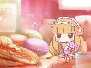 Rating: Safe Score: 44 Tags: black_eyes blonde_hair blush bunny cafe_(artist) chibi food headdress lolita_fashion long_hair original User: otaku_emmy