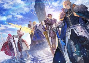 Rating: Safe Score: 55 Tags: agravain aqua_eyes armor arturia_pendragon blonde_hair boots bow_(weapon) cape clouds crown dress fate/apocrypha fate/grand_order fate_(series) gawain green_eyes group lack lancelot_(fate) long_hair male mordred purple_hair red_hair short_hair sky stairs sword tristan_(fate/grand_order) weapon User: RyuZU