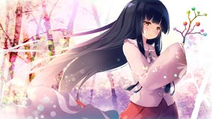 Rating: Safe Score: 53 Tags: black_hair blush bow brown_eyes gengetsu_chihiro houraisan_kaguya long_hair touhou User: RyuZU