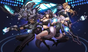 Rating: Safe Score: 275 Tags: ahri_(league_of_legends) animal_ears blonde_hair blue_hair breasts cleavage foxgirl goggles gun headphones irelia janna kha'zix kneehighs league_of_legends liuruoyu8888 long_hair lucian_(league_of_legends) magic mecha navel pink_hair ponytail shorts staff thighhighs weapon yellow_eyes User: Flandre93