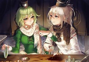 Rating: Safe Score: 71 Tags: 2girls blush drink food gray_eyes green_eyes green_hair hat hug_(yourhug) long_hair mononobe_no_futo scarf short_hair soga_no_tojiko touhou white_hair User: Flandre93