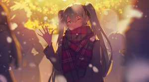 Rating: Safe Score: 62 Tags: green_eyes green_hair group hatsune_miku hua_ben_wuming long_hair scarf snow twintails vocaloid wink User: sadodere-chan