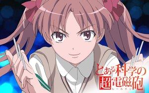 Rating: Safe Score: 15 Tags: bow brown_hair logo long_hair pink_eyes school_uniform shirai_kuroko to_aru_kagaku_no_railgun to_aru_majutsu_no_index twintails weapon User: pantu