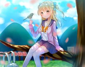 Rating: Safe Score: 90 Tags: animal bird blonde_hair bow long_hair nan_(jyomyon) original seifuku tree twintails yellow_eyes zettai_ryouiki User: Flandre93