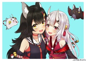 Rating: Safe Score: 32 Tags: 2girls animal_ears bell black_hair choker demon fang gray_hair hololive horns japanese_clothes katana long_hair ma_kimere nakiri_ayame ookami_mio red_eyes rope signed sword weapon wolfgirl yellow_eyes User: RyuZU