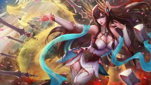 Rating: Safe Score: 90 Tags: blue_eyes brown_hair irelia kaze_no_gyouja league_of_legends long_hair no_bra signed weapon User: sadodere-chan