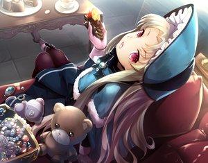 Rating: Safe Score: 53 Tags: blonde_hair cake cape drink food fruit gloves headdress kaitou_tenshi_twin_angel kouzu_shou lolita_fashion long_hair necklace pantyhose red_eyes salome_(twin_angel) strawberry teddy_bear User: RyuZU