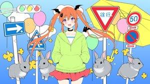 Rating: Safe Score: 46 Tags: aliasing animal choker fang gradient hoodie long_hair orange_hair original purple_eyes rabbit shimashima08123 twintails umbrella User: gnarf1975