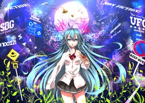 Rating: Safe Score: 95 Tags: akiichi_2 aqua_hair blue_eyes denpa_onna_to_seishun_otoko food long_hair moon pizza skirt touwa_erio User: C4R10Z123GT