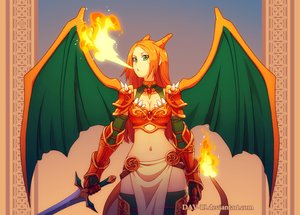 Rating: Safe Score: 330 Tags: anthropomorphism armor breasts charizard cleavage cosplay dav-19 fire gradient green_eyes horns long_hair navel orange_hair pokemon sword thighhighs watermark weapon wings User: Septentrion_P