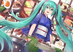 Rating: Safe Score: 24 Tags: blue_eyes food green_hair hatsune_miku japanese_clothes long_hair sarasa_(kanbi) signed twintails vocaloid yukata User: BattlequeenYume