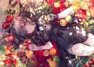 Rating: Safe Score: 164 Tags: apple blush brown_hair dress drink food fruit gothic long_hair onineko orange_(fruit) original red_eyes see_through tears User: BattlequeenYume