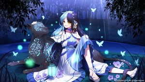 Rating: Safe Score: 18 Tags: animal aqua_hair butterfly dress eile_(esspril) flowers garter grass headband long_hair night original tree yellow_eyes User: BattlequeenYume