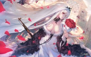 Rating: Safe Score: 73 Tags: anthropomorphism breasts cross flowers girls_frontline gun headdress kar98k_(girls_frontline) long_hair petals red_eyes rose signed tamashii_yuu tiara weapon wedding_attire white_hair User: BattlequeenYume